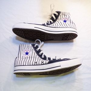 Converse Navy Blue White Striped High Top Sneakers